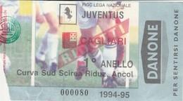 """VECCHIO BIGLIETTO PARTITA DI CALCIO - """"JUVENTUS/CAGLIARI"""" 1994-95 CURVA SUD SCIREA RIDUZIONE.ANCOL - (RIDOTTI) LEGGI - Biglietti D'ingresso"""