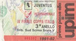"""VECCHIO BIGLIETTO PARTITA DI CALCIO - """"JUVENTUS/INTERNAZIONALE"""" 1991-92 TRIBUNA SUD SCIREA SCALA V - LEGGI - Biglietti D'ingresso"""