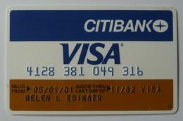 USA - Credit Card - VISA - Citibank - Exp 11/82 - Used - Geldkarten (Ablauf Min. 10 Jahre)