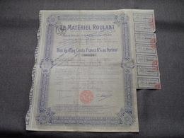 Le Matériel ROULANT / Nr. 008.124 : Bon De 500 Francs 6 % Au Porteur > 1917 Paris ( Voir Photo ) ! - Actions & Titres