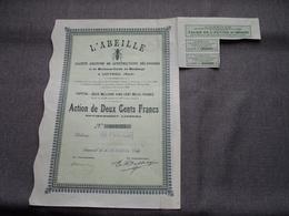 L'ABEILLE / Nr. 012.373 : Action De 200 Francs Au Porteur > 1924 Louvroil ( Voir Photo ) ! - Actions & Titres