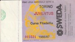 """VECCHIO BIGLIETTO PARTITA DI CALCIO SERIE A - """"TORINO/JUVENTUS"""" DERBY 1986/87 - CURVA FILADELFIA - LEGGI - Biglietti D'ingresso"""