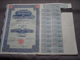 Cie Gén. Des Comptoirs AFRICAINS / Nr. 229.295 : Action De 100 Francs Au Porteur > 1927 Paris ( Voir Photo ) ! - Actions & Titres