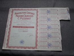Manu Centr De Machines Agricoles C. PUZENAT / Nr. 014.511 : Action De 2500 Francs Au Porteur > Paris ( Voir Photo ) - Actions & Titres