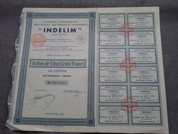INDELIM / Nr. 017.831: Action De 500 Francs Au Porteur > Paris 1932 ( Voir Photo ) - Actions & Titres