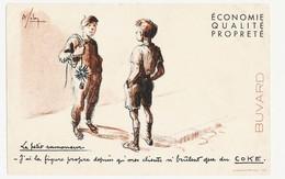 Buvard 21 X 13.5 Le Petit Ramoneur A La Figure Propre Grâce Au COKE  Illustrateur A. Folon (?) - Buvards, Protège-cahiers Illustrés