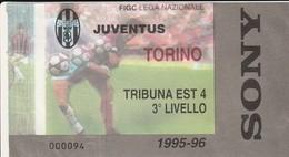 """VECCHIO BIGLIETTO PARTITA DI CALCIO SERIE A - """"JUVENTUS/TORINO"""" DERBY 1995/96 - TRIBUNA EST 4 - 3° LIVELLO - LEGGI - Match Tickets"""
