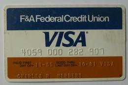 USA - Credit Card - VISA - F&A Federal Credit Union - Exp 10/81 - Used - Krediet Kaarten (vervaldatum Min. 10 Jaar)