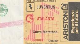 """VECCHIO BIGLIETTO PARTITA DI CALCIO SERIE A - """"JUVENTUS/ATALANTA"""" 1988/89 - CURVA MARATONA - LEGGI - Biglietti D'ingresso"""