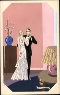 Art Nouveau Artiste Cp Meschini, G., Ars Nova, Paar In Abendgarderobe - Ohne Zuordnung