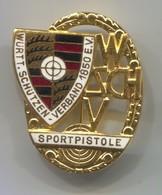 Archery, Shooting - Schutzen, Wurttemberg Germany Sport Pistol, Vintage Pin, Big Badge, Abzeichen, Enamel, D 42 X 35 Mm - Boogschieten