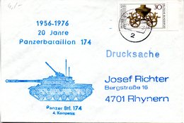 """(FC-3)) BRD Cachet-Sonderumschlag Bundeswehr """"20 Jahre Panzerbataillon 174"""" TSt 22.10.5.76 HAMBURG - BRD"""