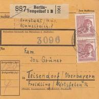 BiZone Paketkarte 1948: Berlin-Tempelhof, Arnstadt Nach Teisendorf - Zona AAS