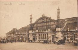 Mechelen Malines La Gare Station Statie Bahnhof Voiture Oldtimer Koets Caleche Couch ZELDZAAM (In Zeer Goede Staat) - Malines