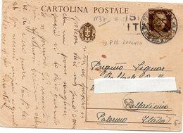 CARTOLINA POSTALE VIAGGIATA DAL PRESIDIO MILITARE DI LEPANTO A PALLAVICINO-PALERMO - 1900-44 Vittorio Emanuele III