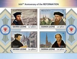 SIERRA LEONE 2017 - J. Calvin, W. Farel, U. Zwingli, M. Bucer - YT CV=19 €, 7489-92 - Theologen