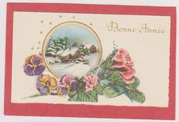 794_ MIGNONETTE BONNE ANNEE .VILLAGE ENNEIGE ROSES PENSEES - Anno Nuovo
