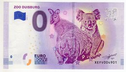 2018-7 BILLET TOURISTIQUE ALLEMAGNE 0 EURO SOUVENIR N°XEFV004901 ZOO DUISBURG Kangourou Koala - EURO
