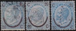 Italia   .     Yvert     .   22/22a/22b       .     O        .   Oblitéré    .    /   .    Cancelled - 1861-78 Victor Emmanuel II.