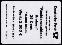 2374 SWK Schloss Arolsen 0,25 - Banderole / Aufkleber 2006 Für 10000-Rolle - BRD