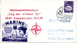 """(FC-3) BRD Cachetumschlag Bundeswehr MARINE """"Marinewaffenschule Kappeln"""" EF Mi 849 SSt 16.7.1978 KAPPELN - BRD"""