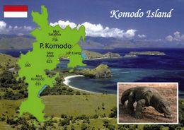 1 Map Of Komodo Island * 1 Ansichtskarte Mit Der Landkarte Der Komodo Insel Mit Einem Komodowaran Seit 1991 UNESCO Erbe - Landkarten