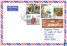 Sri Lanka Stamps, Elephants & People, Personalized Cover - Sri Lanka (Ceylon) (1948-...)