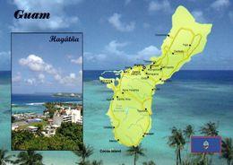 1 Map Of Guam * 1 Ansichtskarte Mit Der Landkarte Von Guam - Im Kleinen Bild Die Hauptstadt Hagåtña * - Landkarten