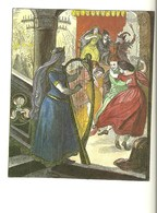 Gravure Instrument De Musique Harpe Lyre Danse Moyen âge Bretagne  Au Verso Bandits De Grand Chemin Brigands Voleurs - Altri