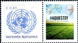 2018 - O.N.U./UNITED NATIONS - WIEN - FRANCOBOLLO DA FOGLIO FRANCOBOLLI PERSONALIZZATI - UNODC - BLUE HEART CAMPAIGN.MNH - Blocchi & Foglietti