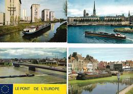 Lot De 4 Cartes Avec Péniche Sur Canal / Chelles, Rouen, Pont De L'Europe, Dunkerque - Péniches