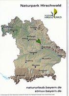 1 Map Of Germany * Landkarte Von Bayern Mit Dem Naturpark Hirschwald - Vorne Eine Landschaft Des Naturparks * - Landkarten