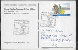 ANNULLO SPECIALE - TOLENTINO - 11.09.1993 - ABBADIA DI FIASTRA - CONVEGNO NAZIONALE RESISTENZA SU CARTOLINA - 1991-00: Marcophilia