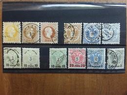 LEVANTE AUSTRIACO 1867/86 - Lotticino 11 Valori (1 Valore Dente Corto Non Calcolato) + Spedizione Raccomandata - Oriente Austriaco