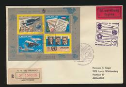 Uruguay Eilboten R Brief Weltraum Block Uruguay Courier R Letter Space Block - Espace