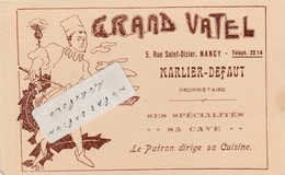 54 - NANCY - GRAND VATEL - 5 Rue Saint-Dizier - MARLIER- DEFAUT    ( 14 Cm X 9 Cm Format Cpa ) - Visiting Cards
