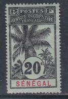 Sénégal  N° 36 X Partie De Série Palmiers : 20 C. Noir Sur Bleu-gris,  Trace De Charnière Sinon TB - Unused Stamps
