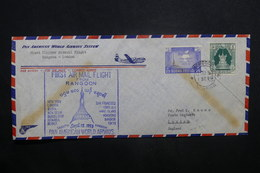 BIRMANIE - Enveloppe 1er Vol Rangoon / Londres En 1953, Affranchissement Plaisant - L 37274 - Myanmar (Birmanie 1948-...)