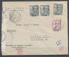 SPAIN - 1942, Leter From MADRID To HALLE (Germany), Censored - Spain