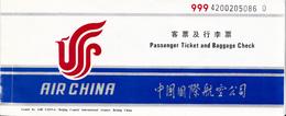 AIRMAIL TICKET , AIR CHINA , BELGRADE - BEIJING WITH ALL BOARDING PASS AND BAGGAGE TAGS - Biglietti Di Trasporto