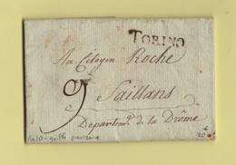 Turin - Torino - Griffe Provisoire - Courrier De L An 10 - Departement Conquis Du Po - 1792-1815: Conquered Departments