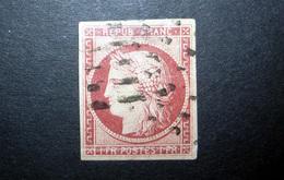 FRANCE 1849 N°6 OBL. (CÉRÈS. IIÈME RÉPUBLIQUE. 1F CARMIN FONCÉ. LÉGENDE REPUB FRANC. NON DENTELÉ) - 1849-1850 Cérès