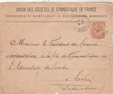 Yvert 117 Mouchon Lettre Entête Union Société Gymnastique De France BORDEAUX Bastide 8/5/1901 à Loches Indre Et Loire - Marcofilia (sobres)