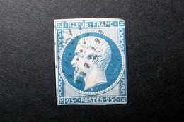FRANCE 1852 N°10 OBL. LOSANGE PC 325 (LOUIS-NAPOLÉON. PRÉSIDENCE. 25C BLEU. LÉGENDE REPUB FRANC. NON DENTELÉ. B SOUS LE - 1852 Louis-Napoléon