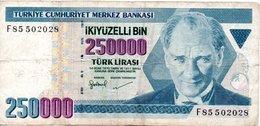 250000 Lirasi 1970 Circulé - Turquie