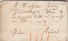 France Spanish Netherlands Belgique Entire Lettre Entier 1629 Arras Pas-de-Calais Pour Anvers Antwerpen (s71) - Marcofilia (sobres)
