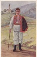 AQ51 Social History - Traditional Costume Of Croatia - Artist Signed Postcard - Costumes