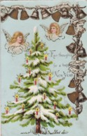 AQ51 Greetings - Fair Thoughts For A Happy New Year - Angles, Bells, Tree - New Year
