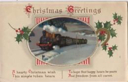 AQ51 Greetings - Christmas Greetings - Holly, Steam Train - Christmas