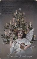 AQ51 Greetings - Xmas Greetings - Angel, Tree - Christmas